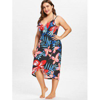 Tropical Plus Size Cover Up Dress - multicolor A 5X