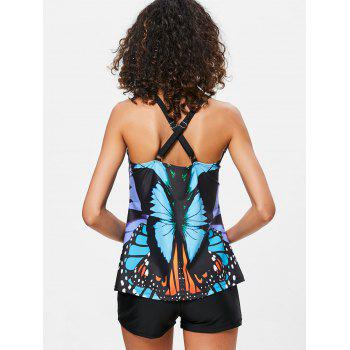 Butterfly Printed Cross Back Tankini - multicolor L
