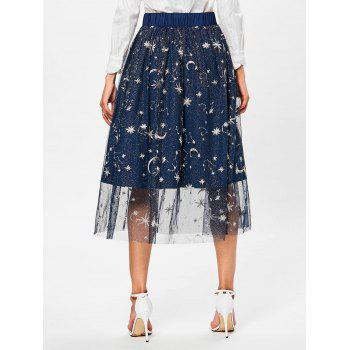 High Rise Galaxy Print Midi Skirt - DEEP BLUE L