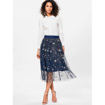 High Rise Galaxy Print Midi Skirt - DEEP BLUE 2XL
