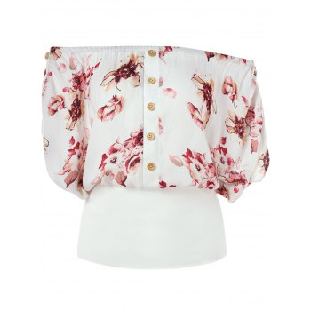 Off Shoulder Floral Blouson Top - WHITE L