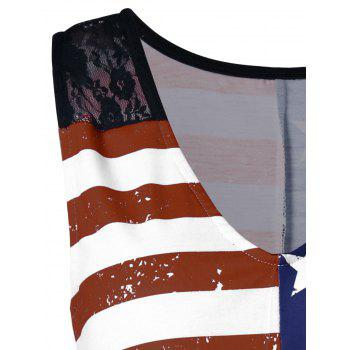 American Flag Print Lace Insert Swing Tank Top - multicolor A XL