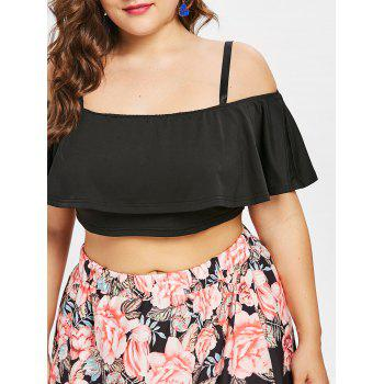 Plus Size Ruffle Crop Top and Slit Flower Skirt - BLACK 1X