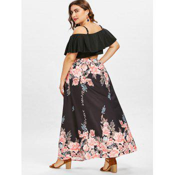 Plus Size Ruffle Crop Top and Slit Flower Skirt - BLACK 2X