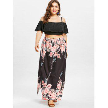 Plus Size Ruffle Crop Top and Slit Flower Skirt - BLACK 3X