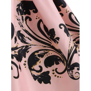 High Waist Printed Vintage Dress - LIGHT PINK M