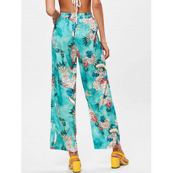 High Rise Floral Print Palazzo Pants - DRAGON GREEN M