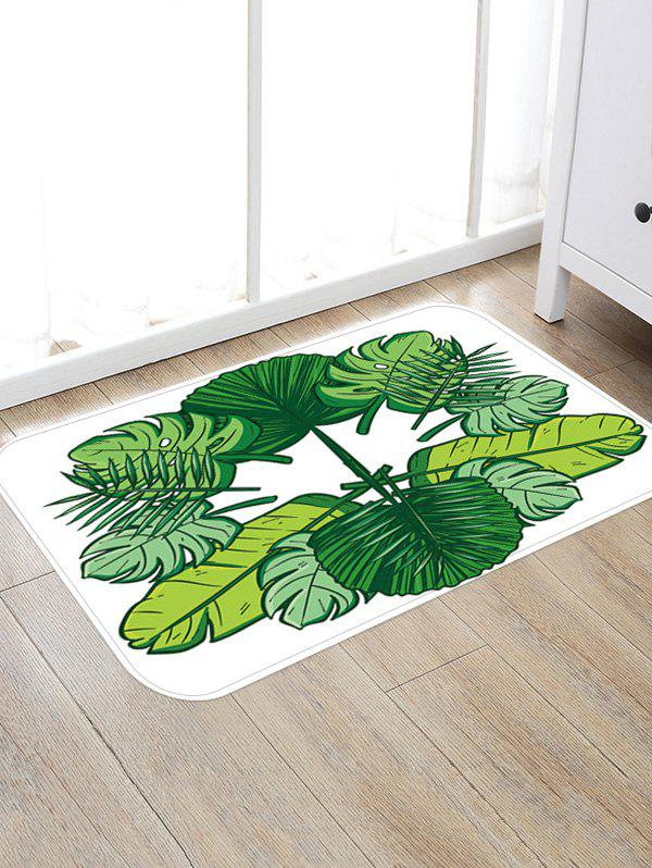 Tropical Leaves Pattern Anti-skid Floor Mat - VENOM GREEN W16 INCH * L24 INCH