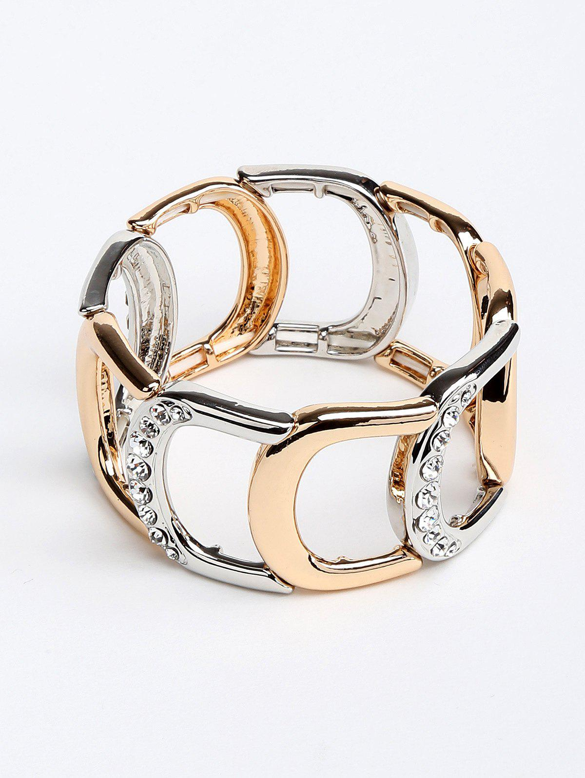 Faux Diamond Hollow Out Inlaid Alloy Chunky Bracelet - multicolor
