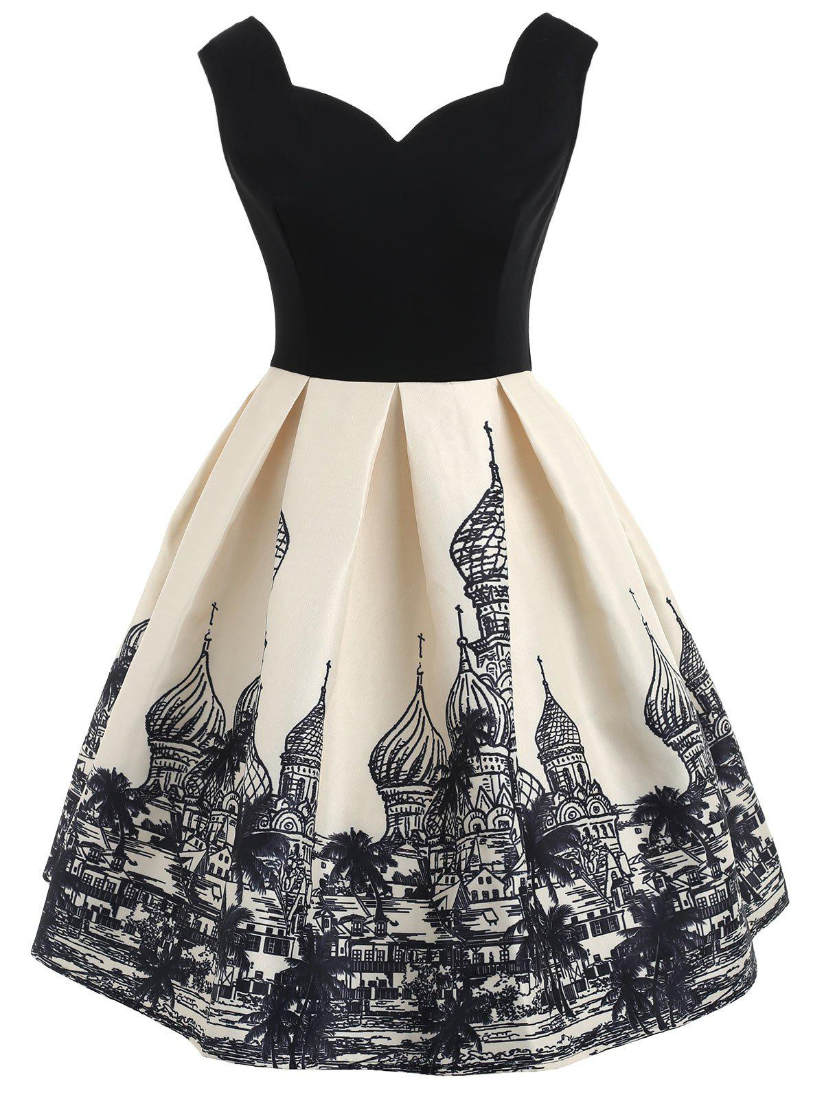Russian Buildings Printed Sleeveless Flare Dress - BLACK 2XL