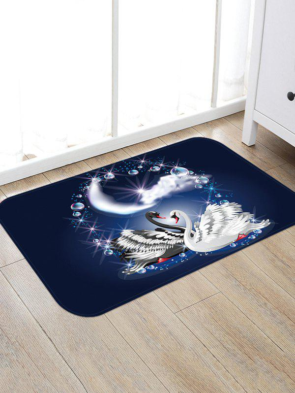Couple Swan Print Floor Area Rug - multicolor W16 INCH * L24 INCH