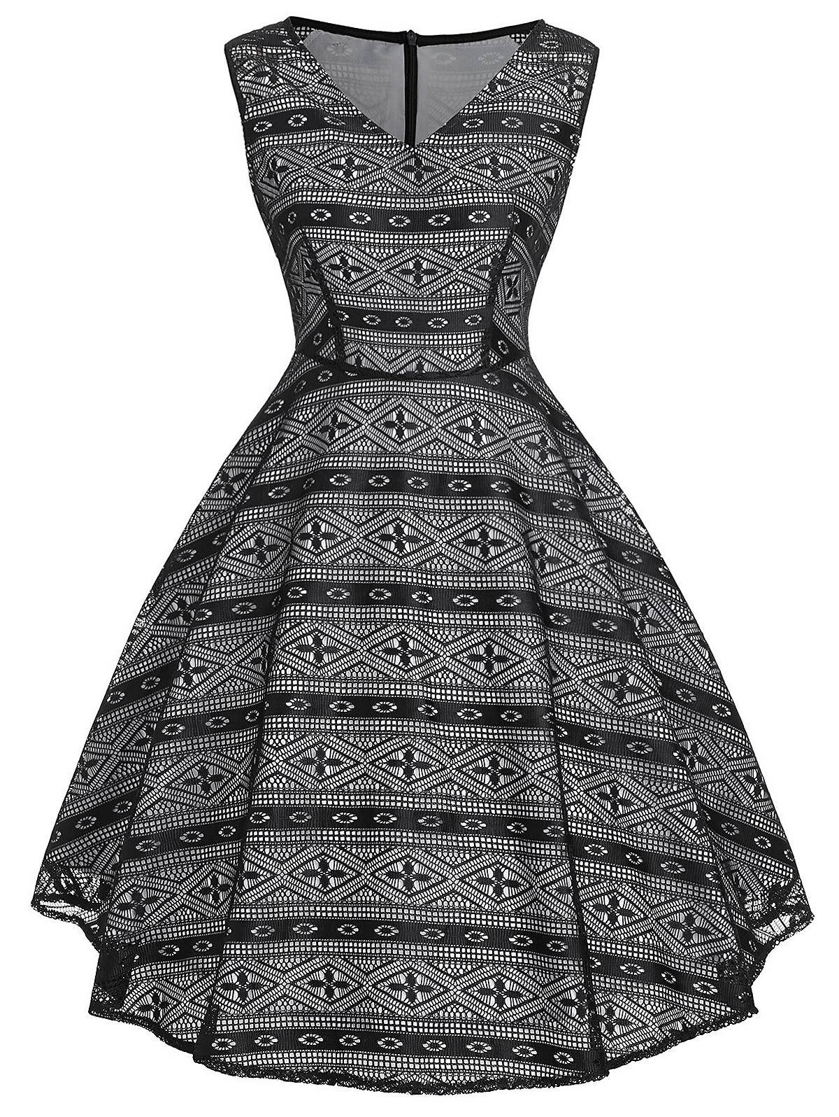 Vintage Geometric High Waist Dress - BLACK S