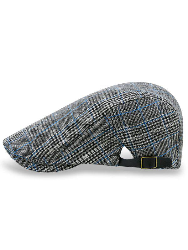 Plaid Adjustable Newsboy Flat Cap - DARK GRAY