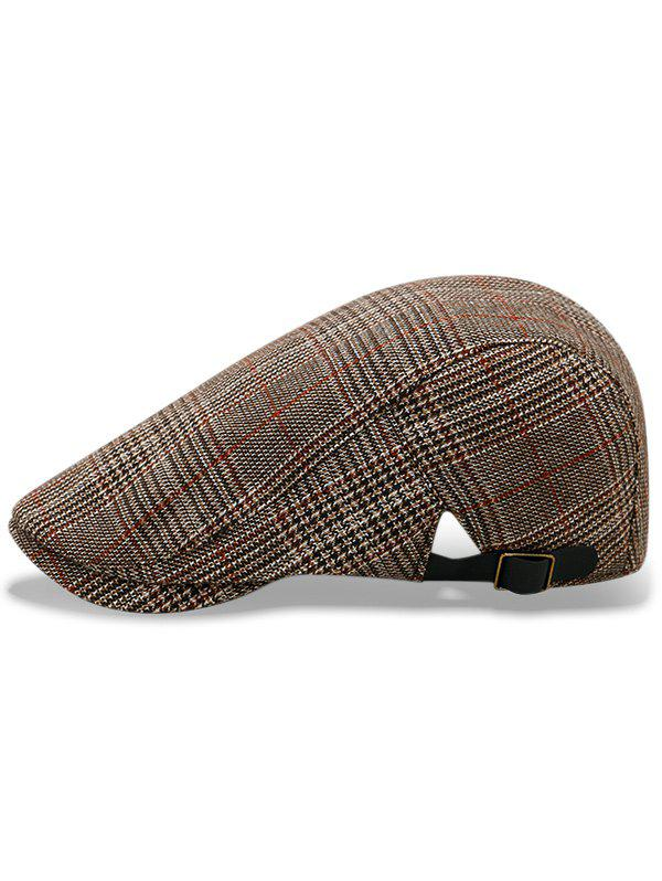 Plaid Adjustable Newsboy Flat Cap - COFFEE