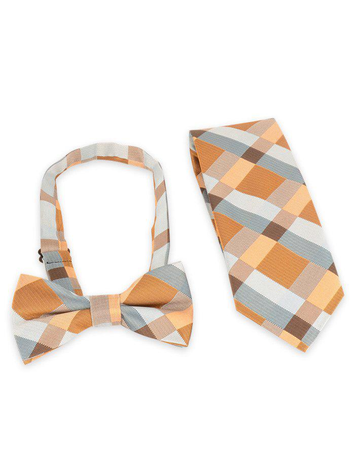 Plaid Pattern Silky Neck Tie and Adjustable Bow tie Set - BRIGHT YELLOW