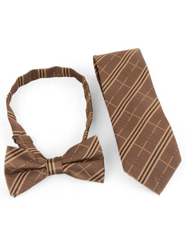 Striped Pattern Silky Business Shirt Tie and Bowtie - COFFEE