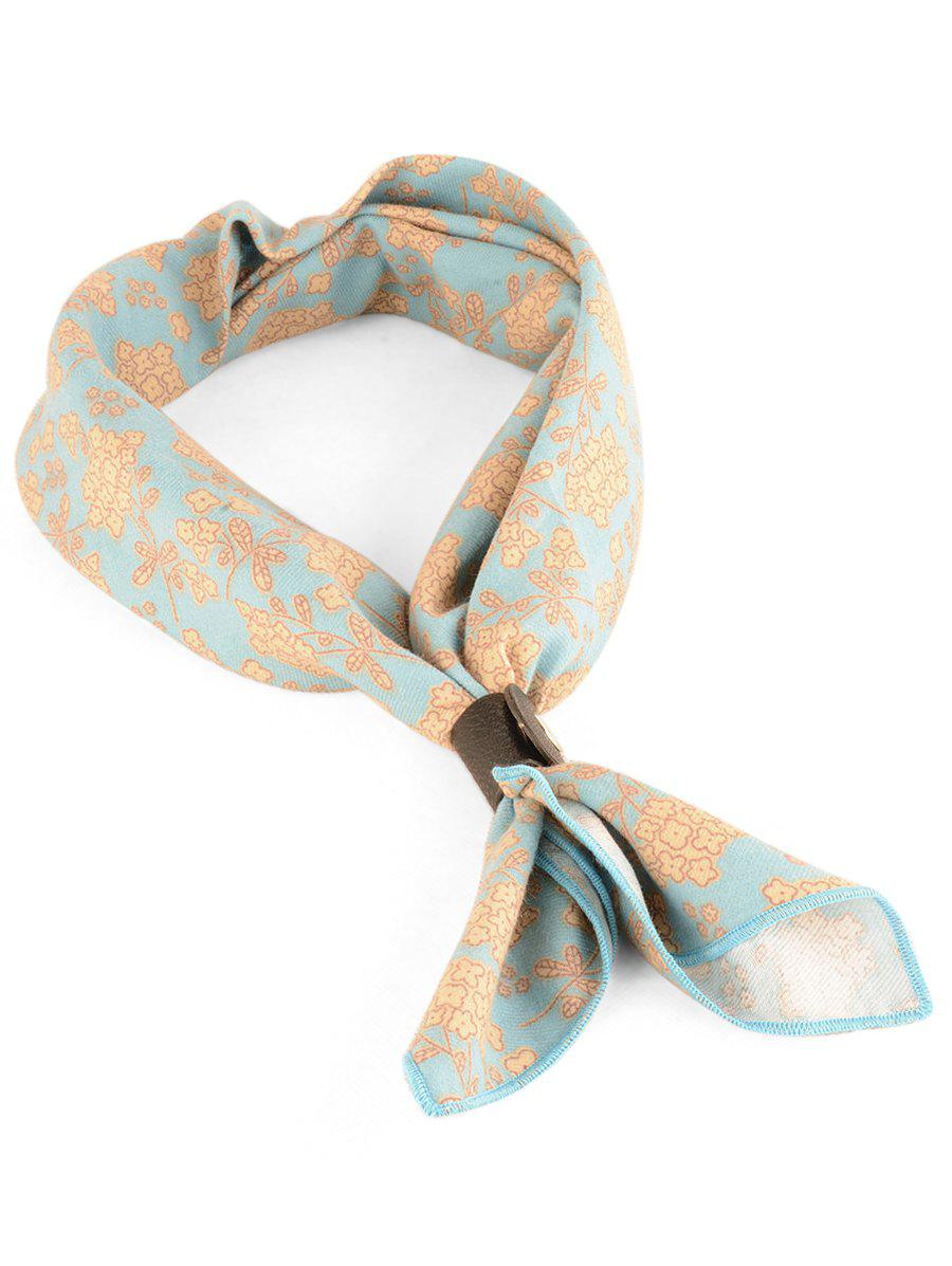 Flourishing Floral Pattern Silky Kerchief Neck Scarf - CORAL BLUE