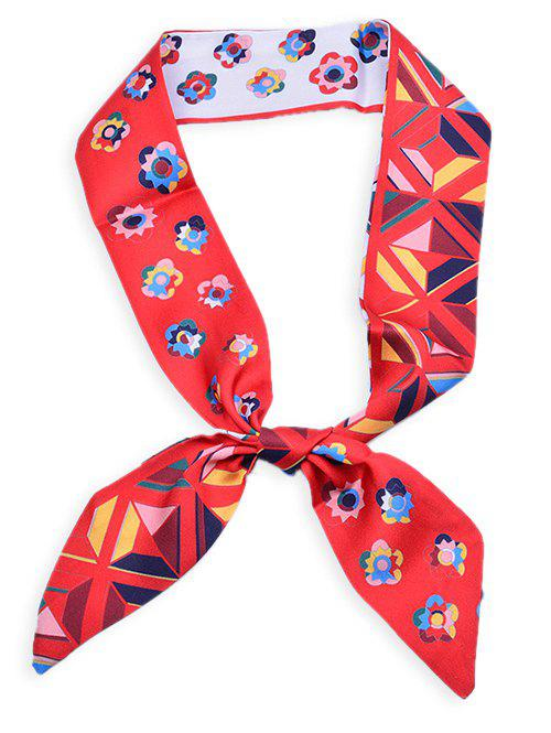Blooming Floral Pattern Headband Bag Ribbon Scarf - LOVE RED