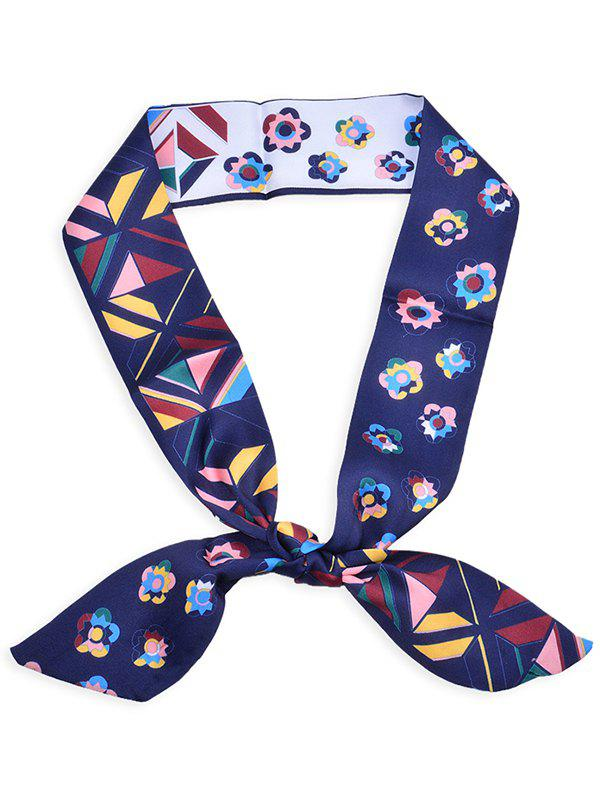Blooming Floral Pattern Headband Bag Ribbon Scarf - DEEP BLUE