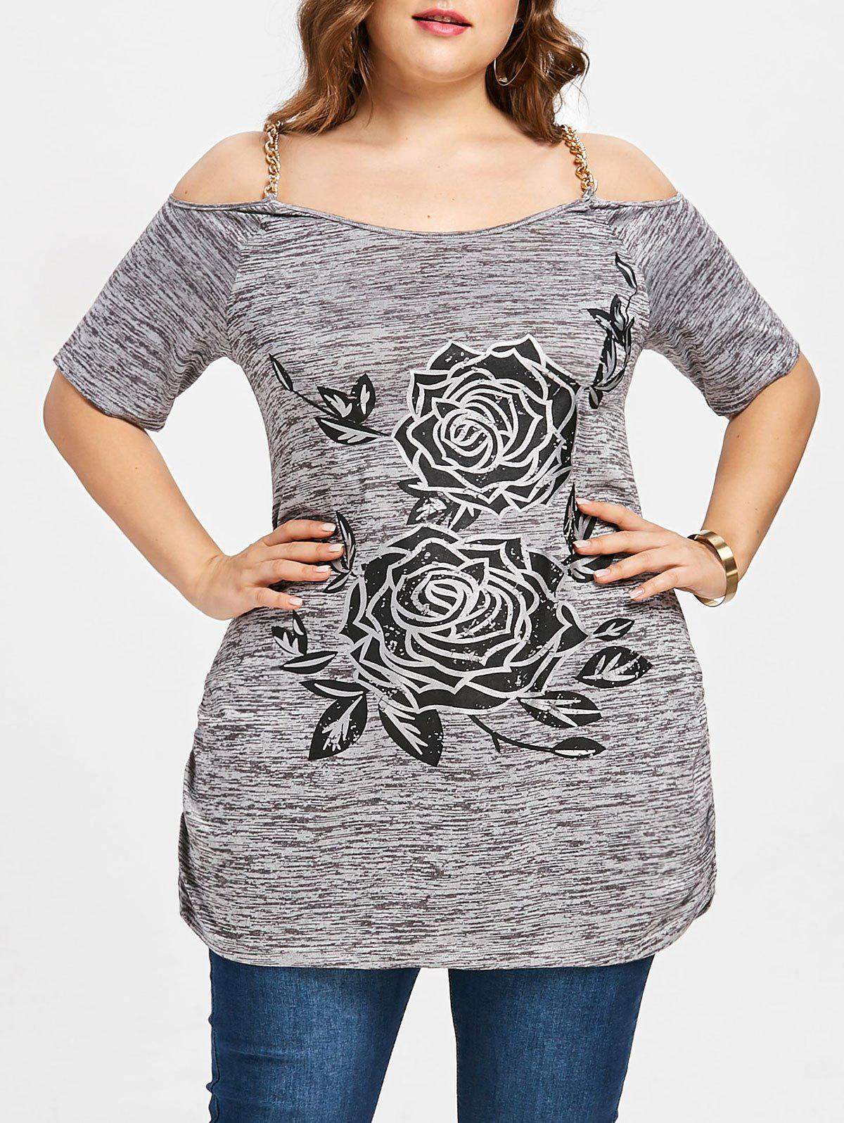 Plus Size Chains Embellished Floral T-shirt - COLORMIX 2XL
