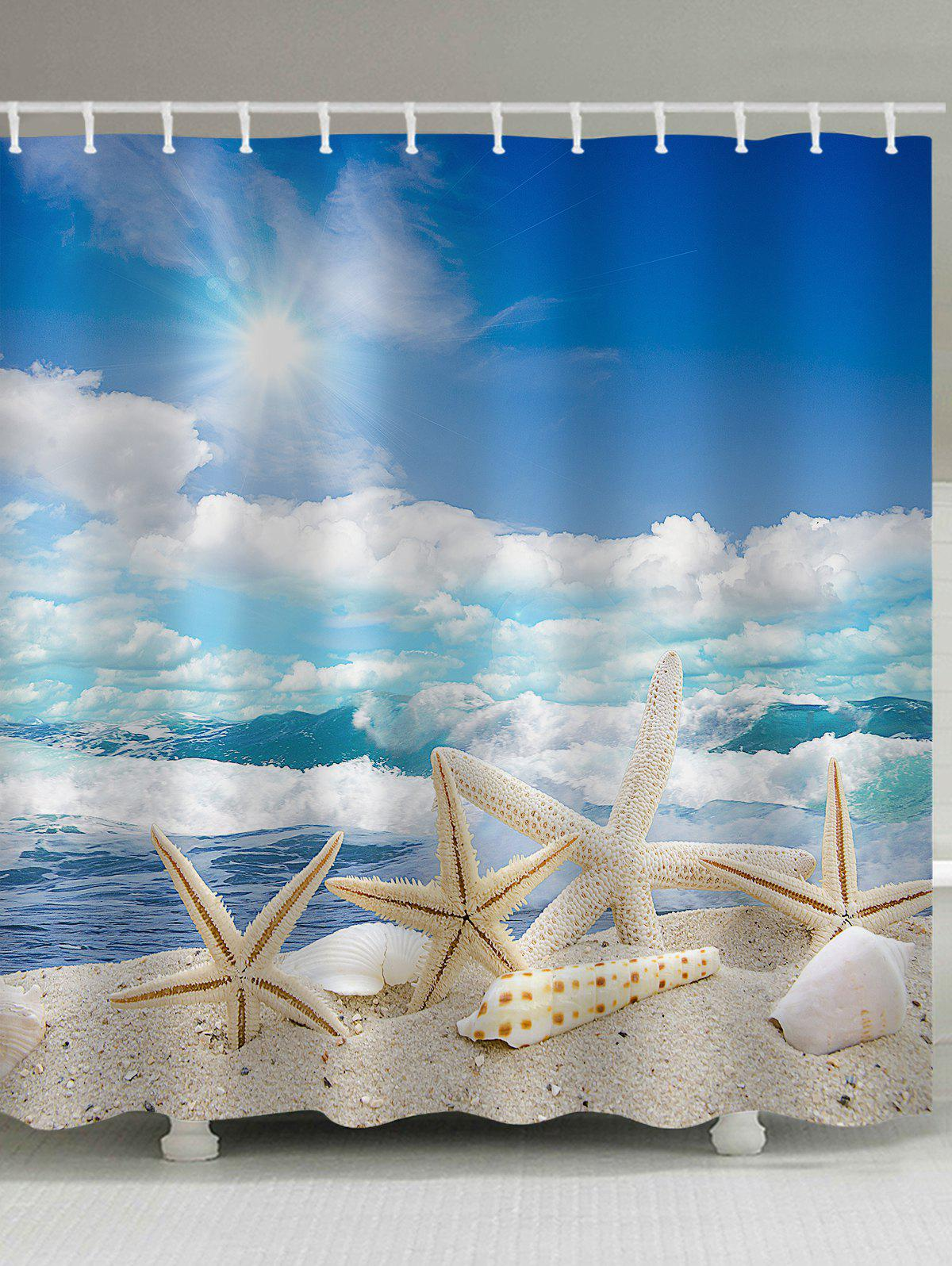 Starfishes Shells Beach Scenery Print Shower Curtain - multicolor W71 INCH * L79 INCH