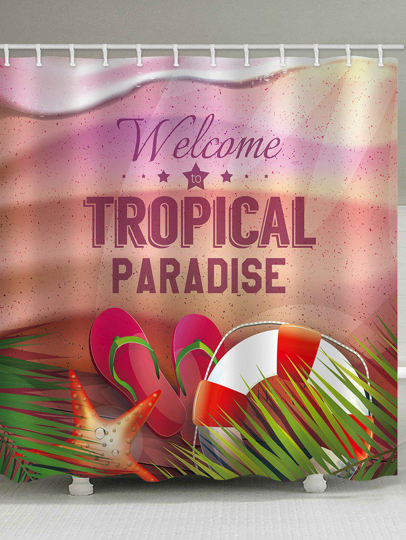 Tropical Paradise Theme Printed Bath Curtain - multicolor W71 INCH * L71 INCH