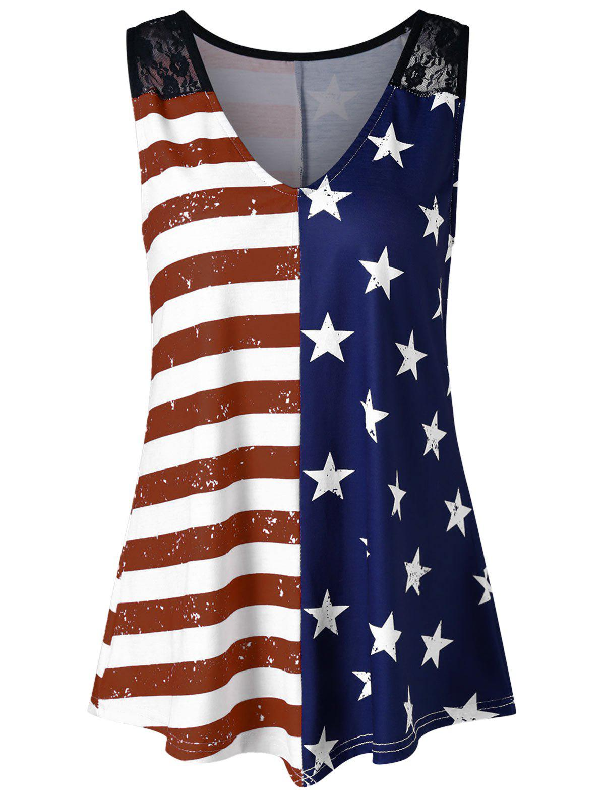 American Flag Print Lace Insert Swing Tank Top
