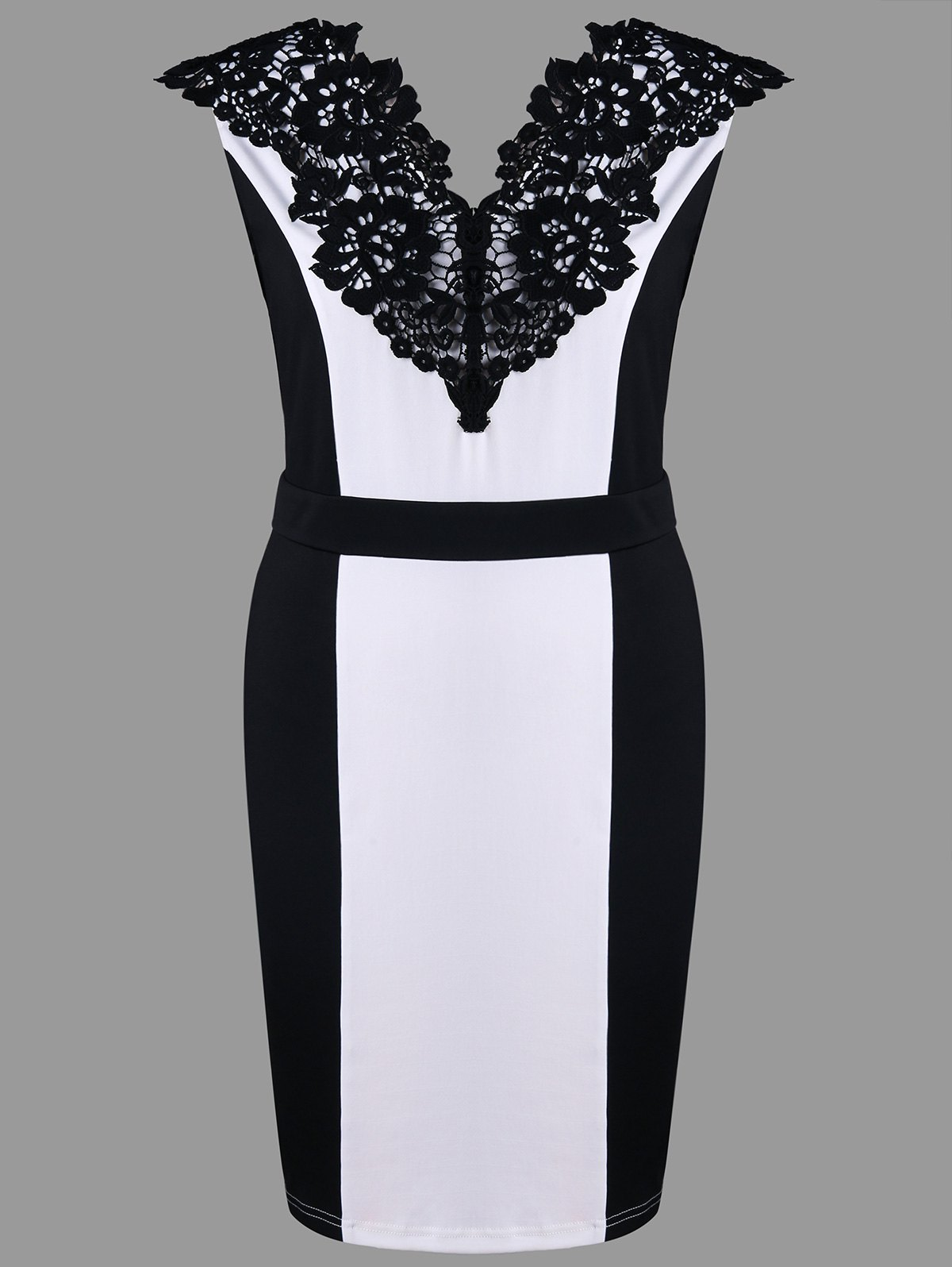 Plus Size Lace Trim Sleeveless Hourglass Dress