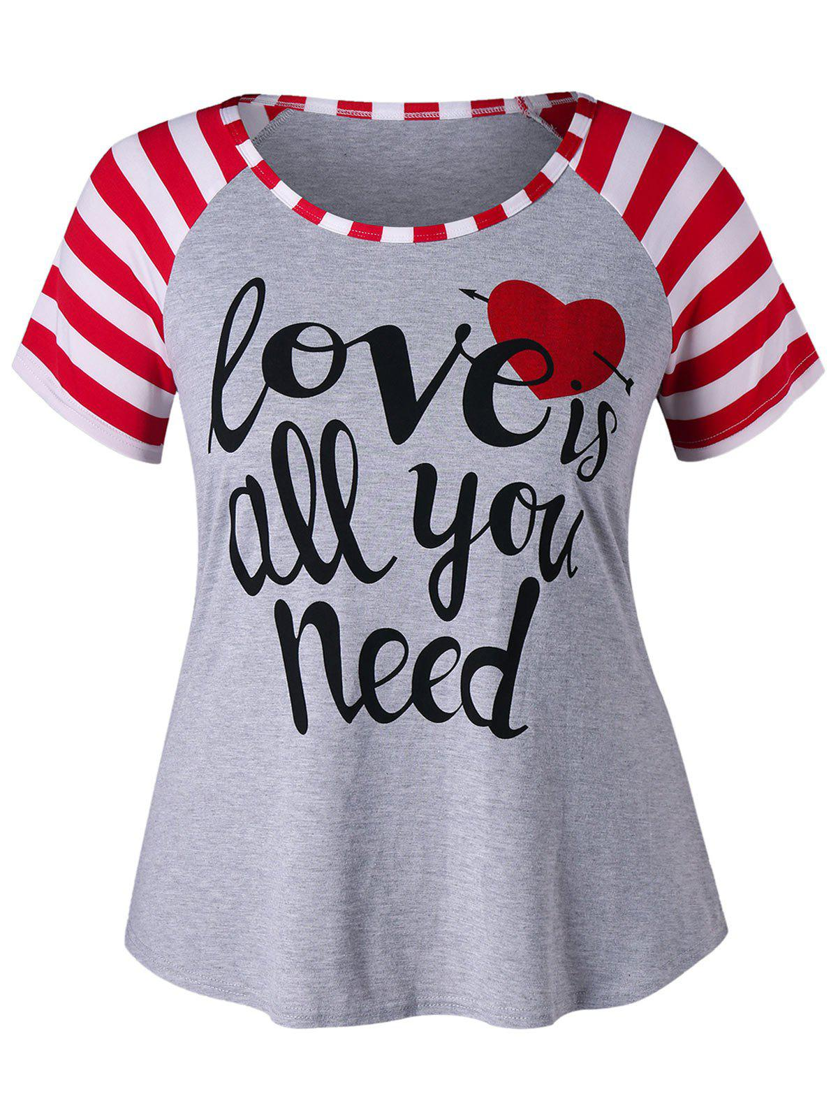 Plus Size Letter Print Striped T-shirt - GRAY XL