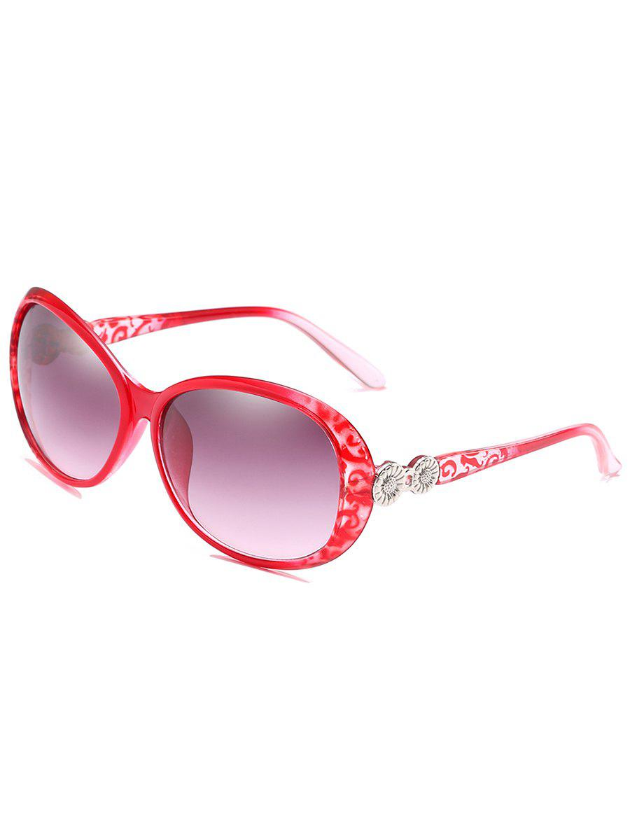 Anti Fatigue Metal Carving Frame Catty Sunglasses - VIOLET RED