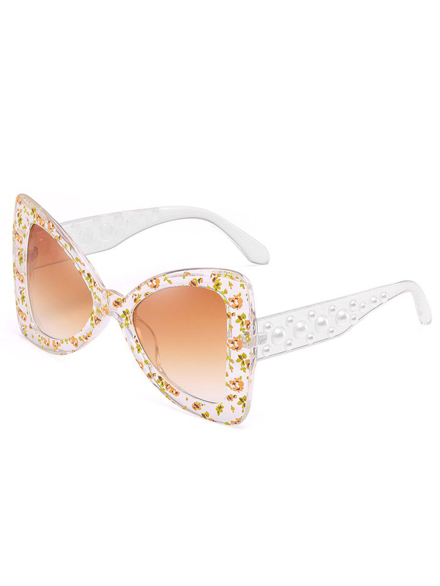 Unique Faux Pearl Butterfly Sunglasses - LIGHT BROWN