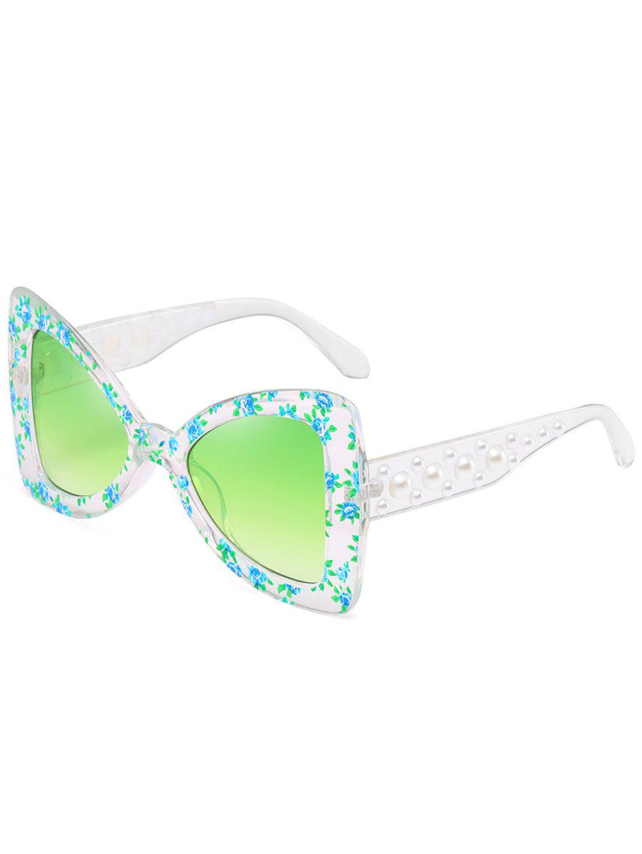Unique Faux Pearl Butterfly Sunglasses - YELLOW GREEN
