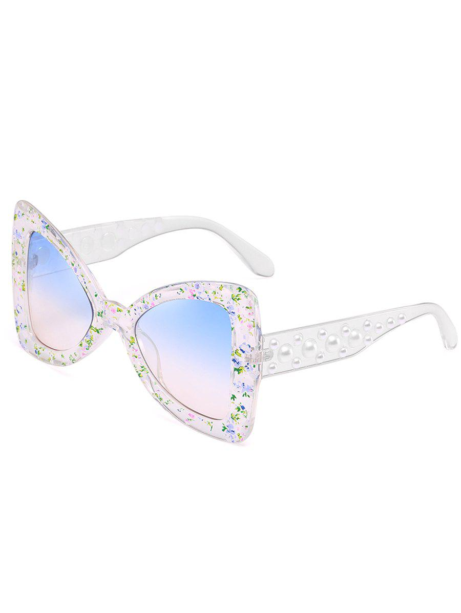 Unique Faux Pearl Butterfly Sunglasses - WHITE