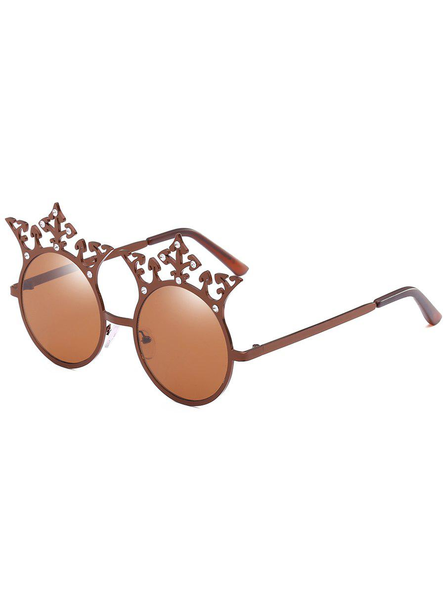 Retro Crown Rhinestone Round Sunglasses - BROWN