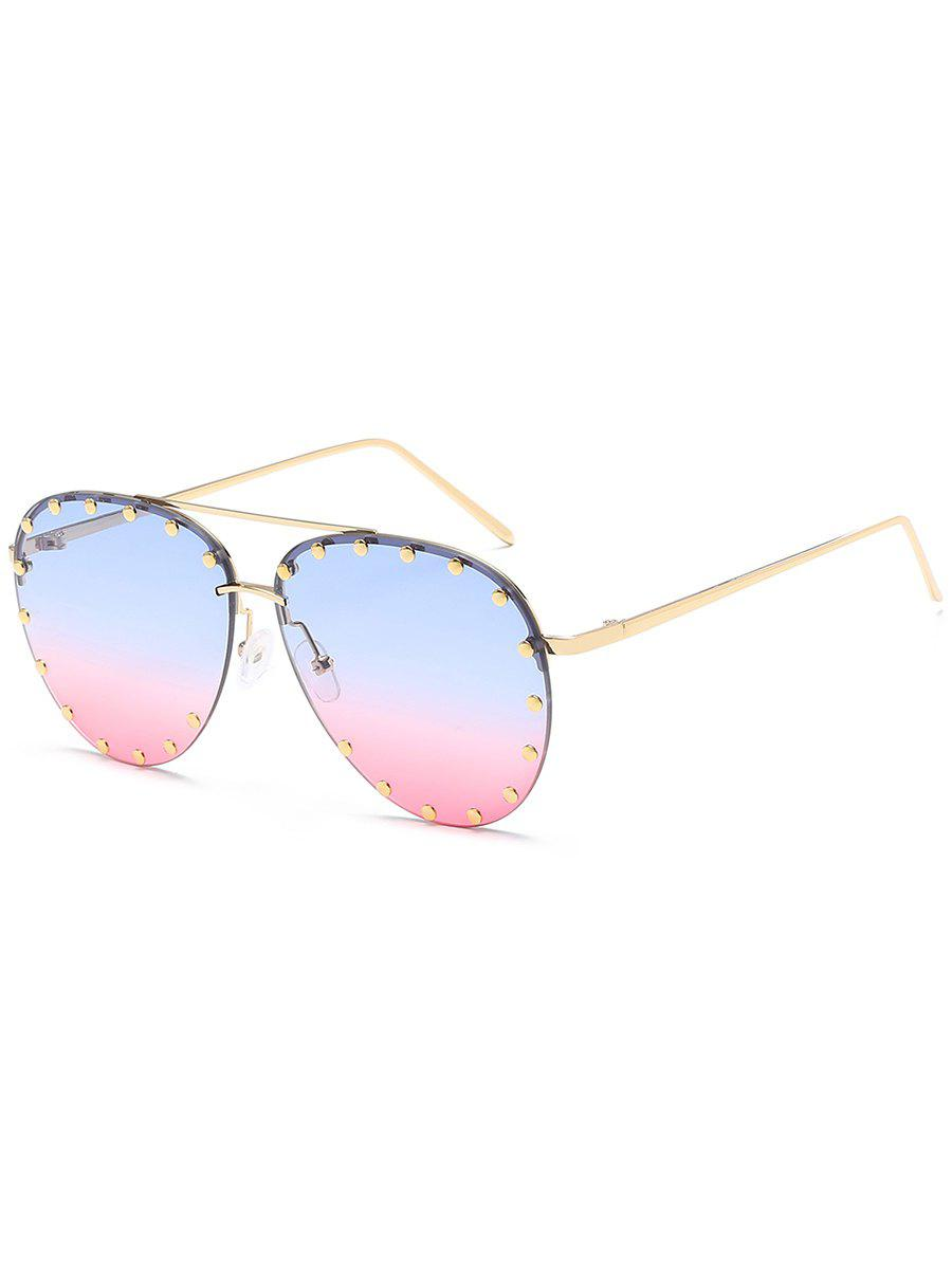 Anti UV Metal Studs Decorated Pilot Sunglasses - POWDER BLUE