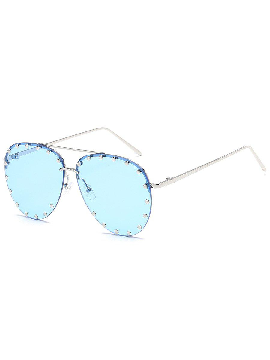 Anti UV Metal Studs Decorated Pilot Sunglasses - LIGHT SKY BLUE