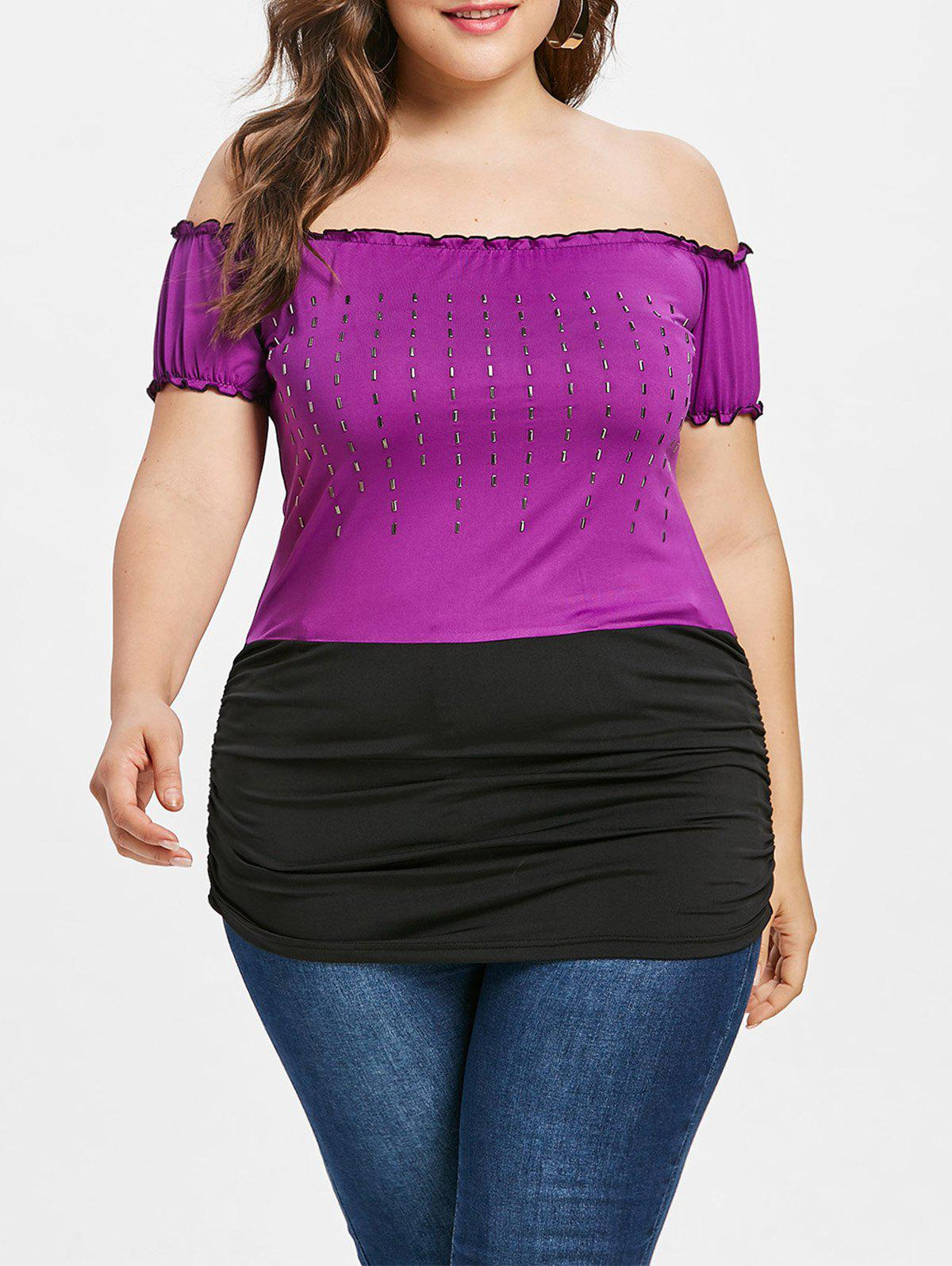 Plus Size Two Tone Embellished T-shirt plus size v neck two tone t shirt