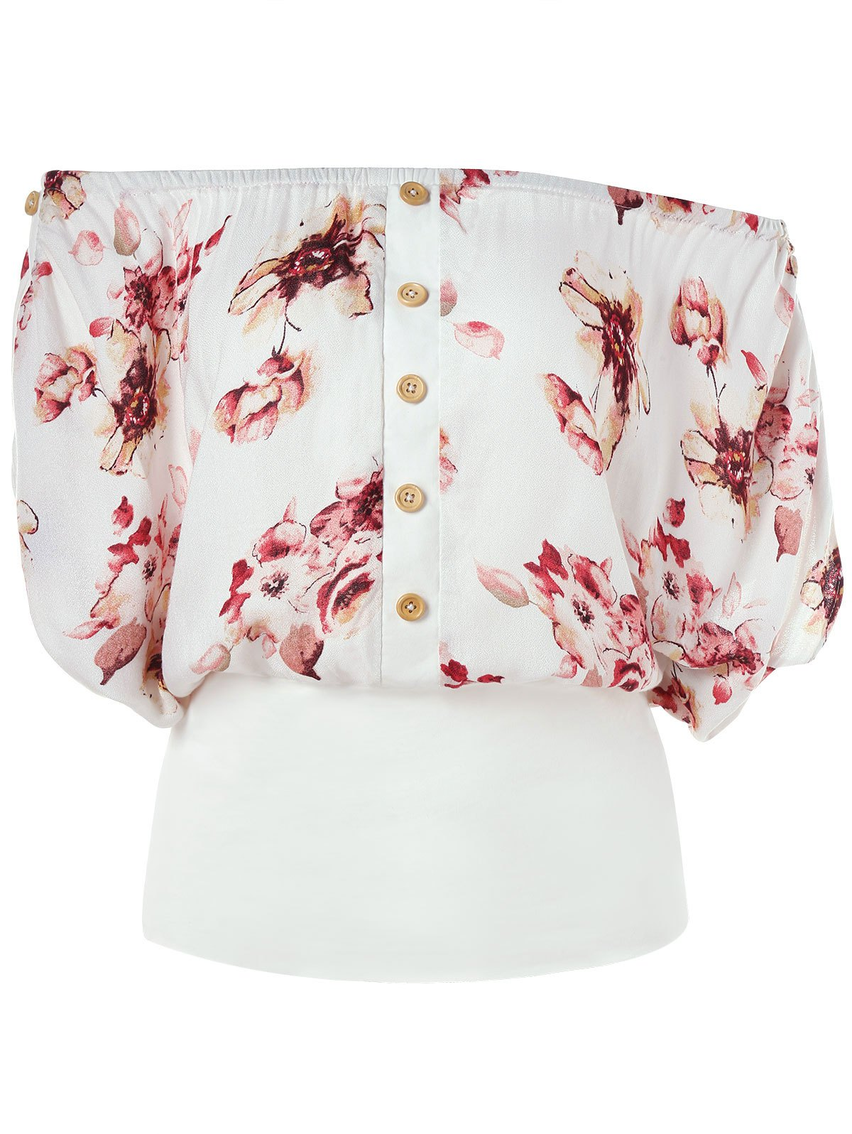 Off Shoulder Floral Blouson Top - WHITE XL