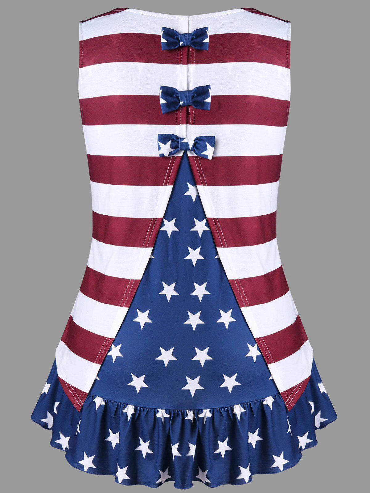 Plus Size Flounced Bowknot Embellished Patriotic Tank Top side bowknot embellished plus size sweatshirts page 7