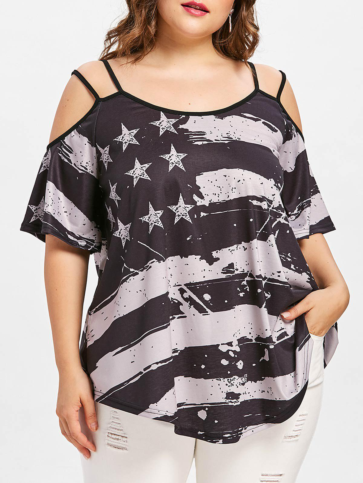 Cold Shoulder Plus Size American Flag T-shirt 2 pcs gdstime tow ball bearing 48v 170mm x 50mm circle cooler metal case industrial dc cooling fan 172mm x 51mm 2pin 17cm 17251