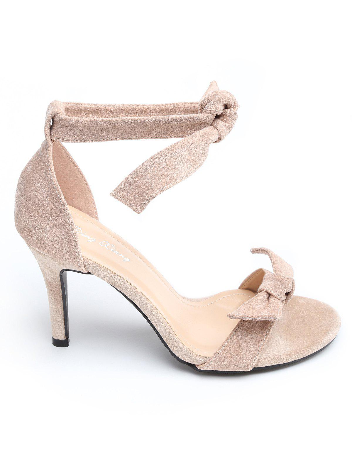 Ankle Strap Suede Bow Stiletto Heel Sandals - PINK BUBBLEGUM 36