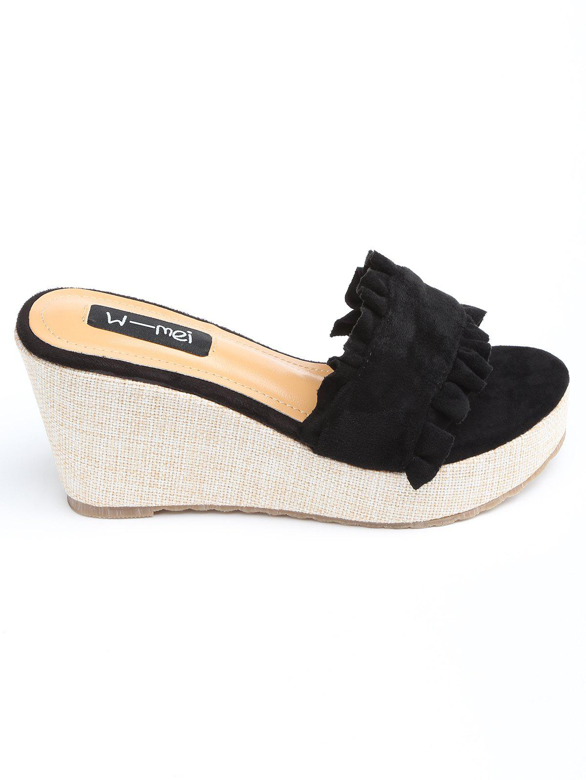 Wedge Ruffles Slip On Slides - BLACK 35