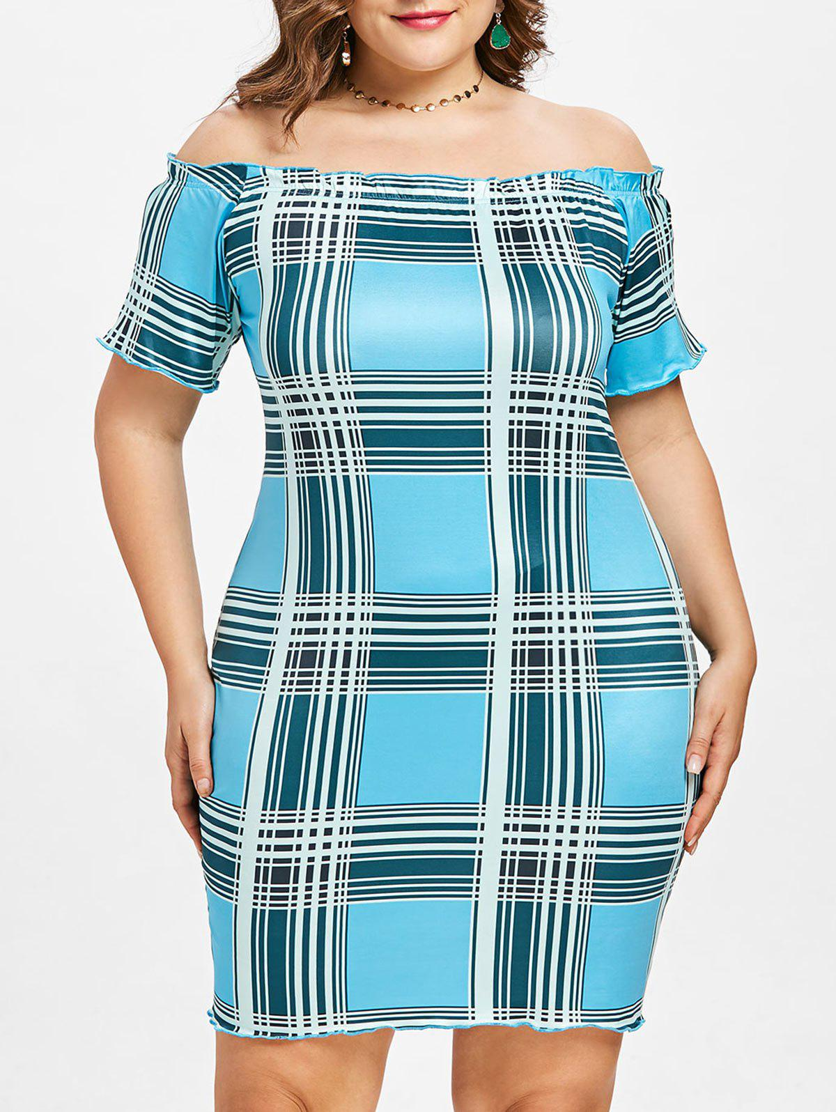 2018 Plus Size Plaid Frill Bodycon Dress BUTTERFLY BLUE X In Casual ...