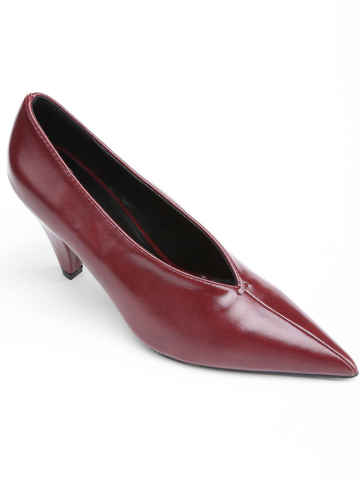Point Toe V Cut High Heel Pumps - RED WINE 37