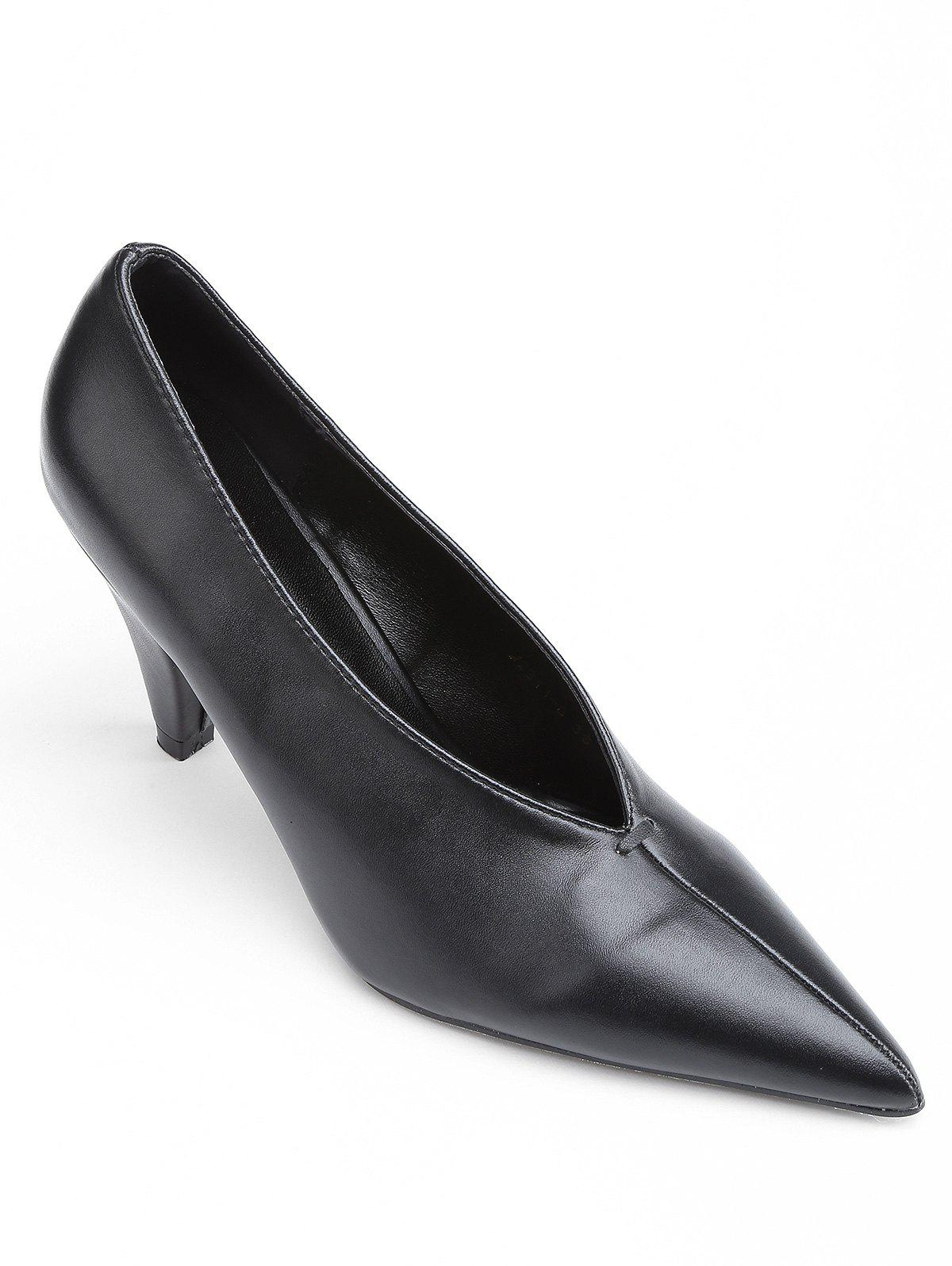 Point Toe V Cut High Heel Pumps - BLACK 37