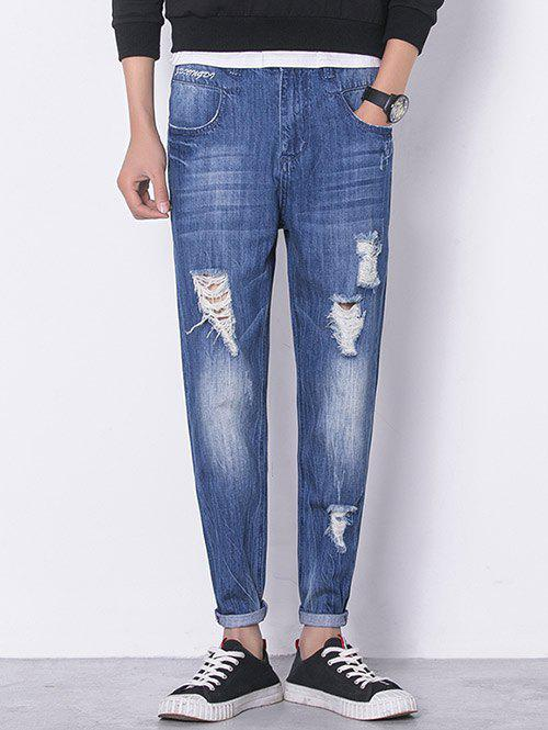 Panel Bleached Destroyed Zip Fly Jeans - SAPPHIRE BLUE S