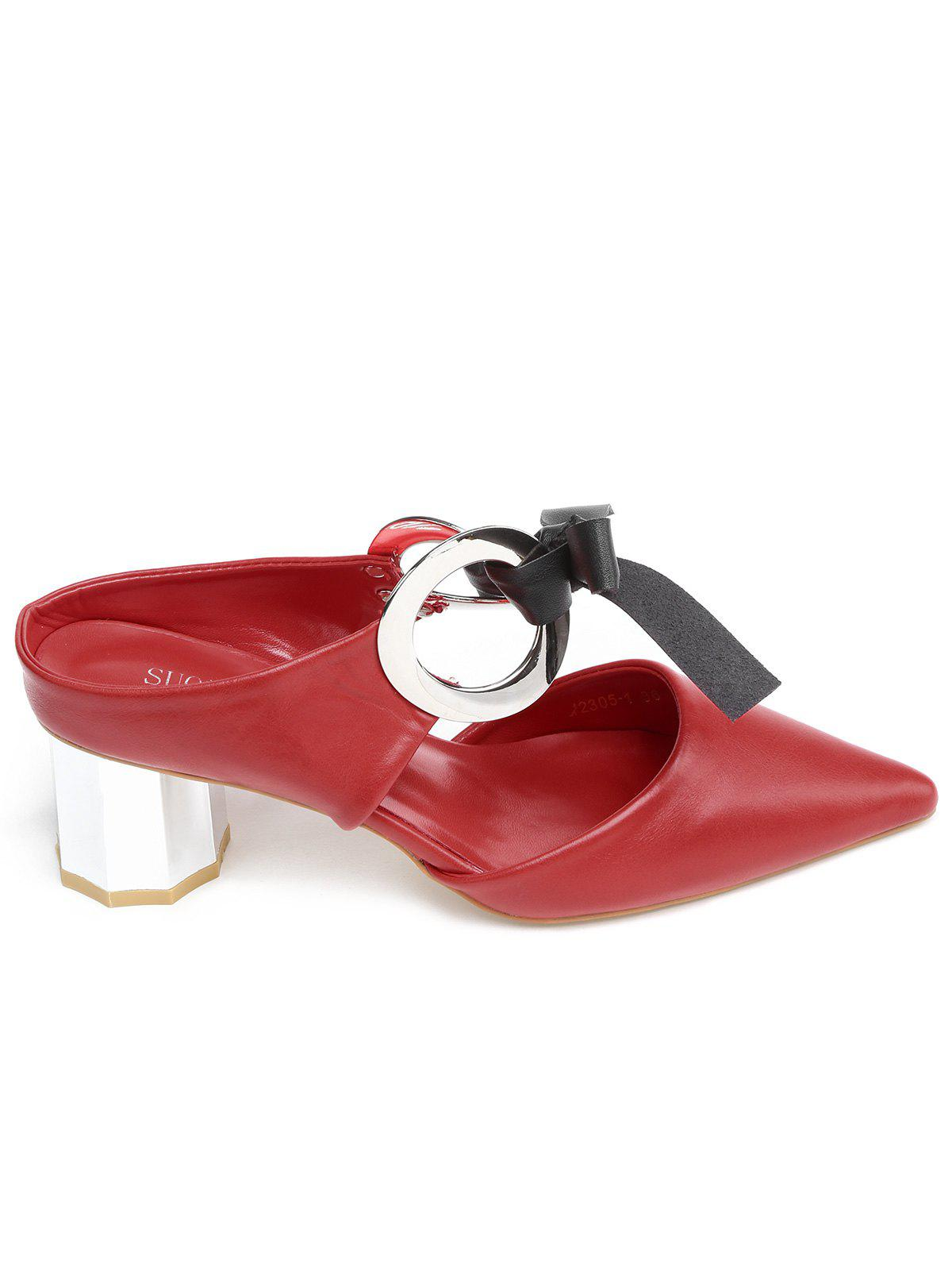Point Toe Bowknot PU Leather Block Heel Sandals - LOVE RED 35