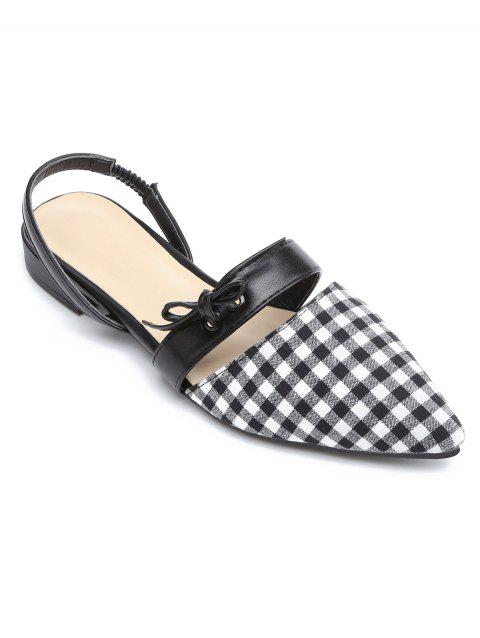 Bow Slingbacks Point Toe Flat Shoes - multicolor A 39