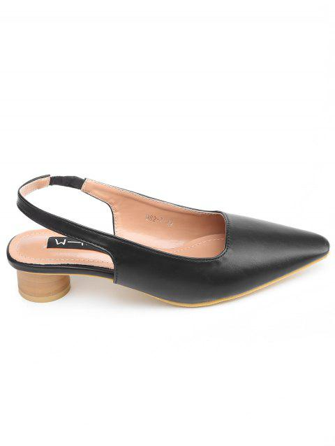 Elastic Band Block Heel PU Leather Pumps - BLACK 38