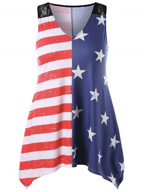 Asymmetric Hem Plus Size Flag Print Tank Top - multicolor A 1X